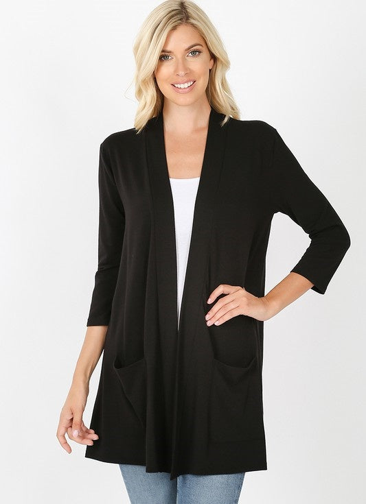 Everyday BLACK Cardigan with Pockets - The Hot Polka Dot
