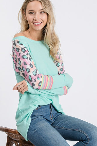 Katy Thermo Colorblock Knit Top - Spring Mint - The Hot Polka Dot