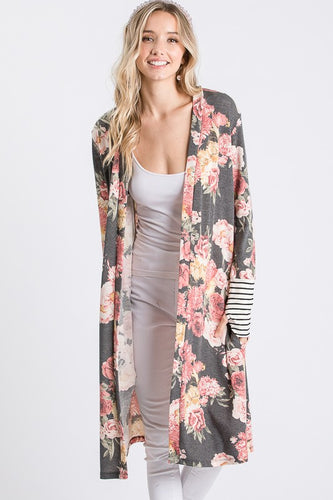FLORAL PRINT MAXI CARDIGAN - The Hot Polka Dot