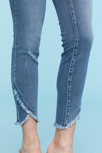 JUDY BLUE Tulip Hem Skinny Jeans / MEDIUM WASH - The Hot Polka Dot