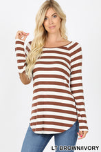 Load image into Gallery viewer, *CLEARANCE* Long Sleeve Top with Elbow Patch Detail / Brown & Ivory - The Hot Polka Dot
