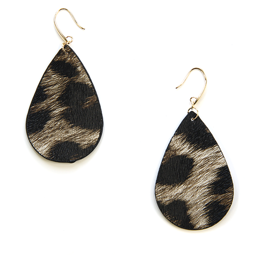 Beige Leopard Print Teardrop Earings - The Hot Polka Dot