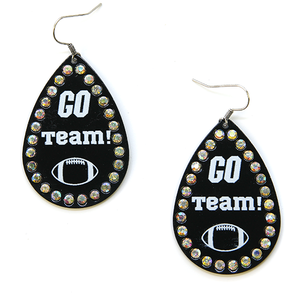 BLACK Go Team Football Earrings