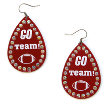 Load image into Gallery viewer, RED Go Team Football Earrings