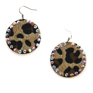 Rhinestone Studded Circle Leopard Textured Earrings - The Hot Polka Dot