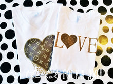 Load image into Gallery viewer, LV Inspired Glitter Heart Shirt - The Hot Polka Dot