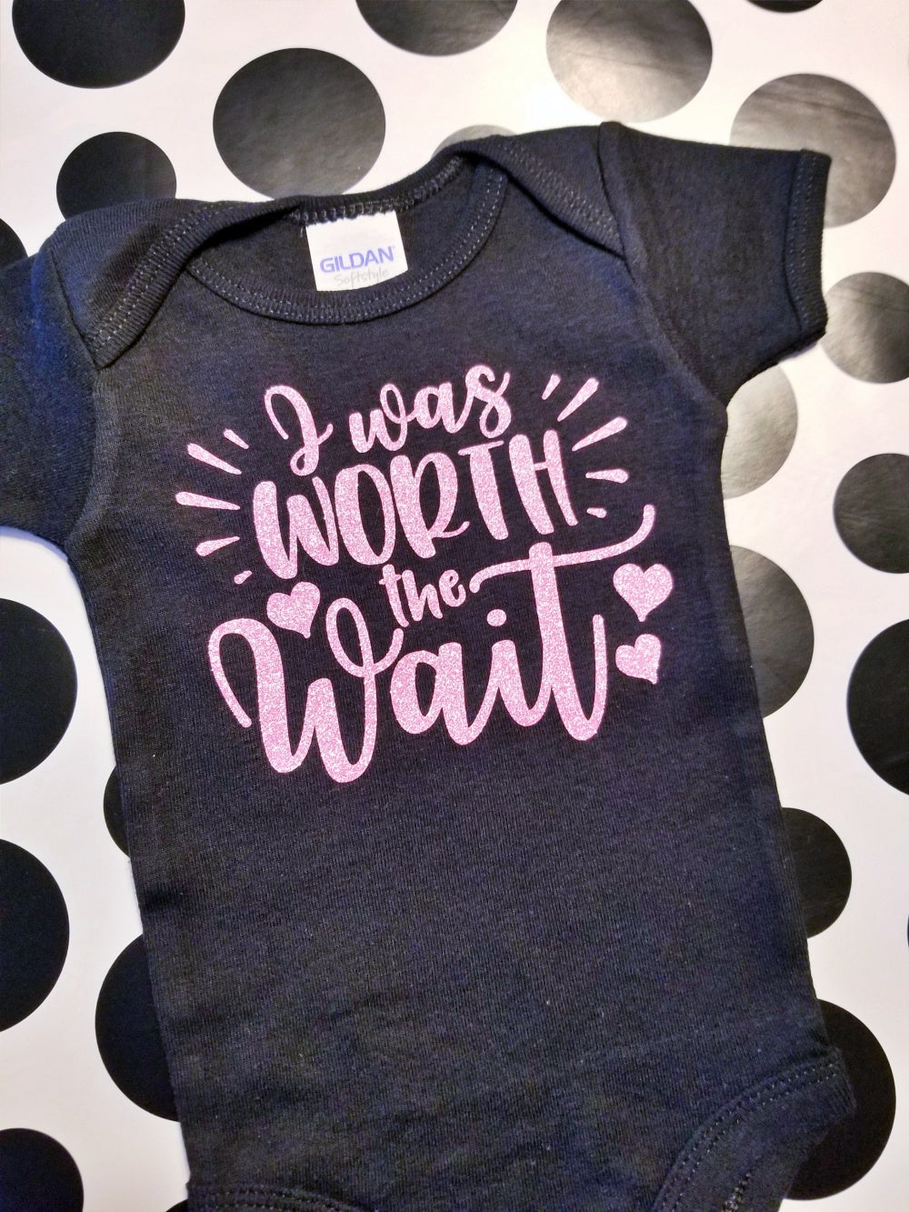 I was Worth the Wait, New Baby Girl Onesie, Choose Colors - The Hot Polka Dot