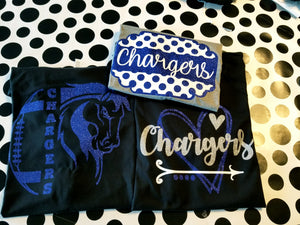CHARGERS Heart,  All Glittered Spirit Day Shirt, Chargers Pride Shirt, Chargers Mascot Shirt, Adult & Kid Sizes