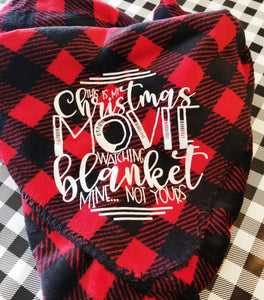 Buffalo Plaid Christmas Movie Watching Fleece Throw Blanket - The Hot Polka Dot