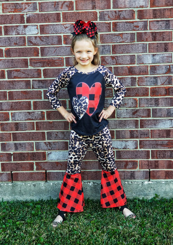 SALE / Toddler Girls Valentine's Day Outfit, Buffalo Plaid Boutique Outfit - The Hot Polka Dot