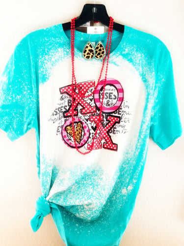 *BLEACHED* Turquoise XOXO Valentine's Day Shirt, Valentine's Day Shirt - The Hot Polka Dot