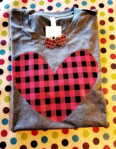 Buffalo Plaid Heart Valentine's Day Shirt, Valentine's Day Shirt, Choose Shirt Color & Style - The Hot Polka Dot
