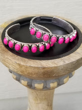 Load image into Gallery viewer, Hot Pink Western Style Bracelet, Silver Skinny Cuff Bracelet - The Hot Polka Dot