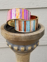Load image into Gallery viewer, Pink Purple Orange Sparkly Striped Gold Cuff Bracelet - The Hot Polka Dot