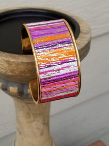 Pink Purple Orange Sparkly Striped Gold Cuff Bracelet - The Hot Polka Dot
