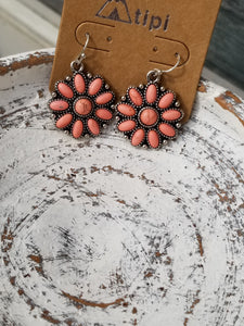 Coral Blossom Flower Fish Hook Earrings, Western Style Earrings - The Hot Polka Dot