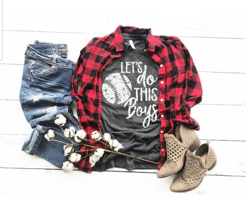 Let's do this Boys, Distressed Baseball Tee, Choose Shirt Color - The Hot Polka Dot