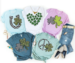Mommy & Me Set of 2 Double Shamrock Lucky Tee, Leopard Print Clover St. Patrick's Day Shirt, Choose Shirt Color - The Hot Polka Dot
