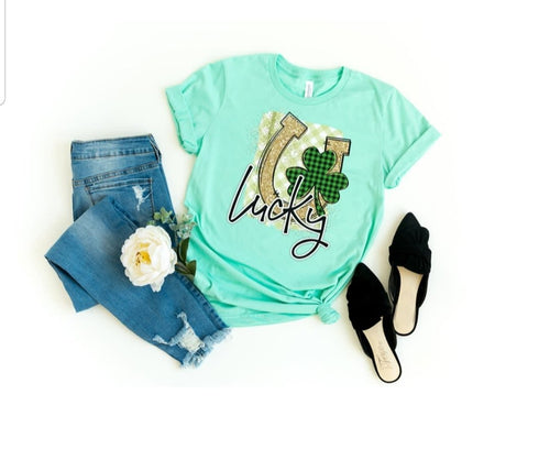 Lucky Horseshoe & Clover Tee, St. Patrick's Day Shirt, Choose Shirt Color - The Hot Polka Dot