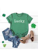 Load image into Gallery viewer, LUCKY Typewriter Tee, St. Patrick's Day Shirt, Choose Shirt Color - The Hot Polka Dot