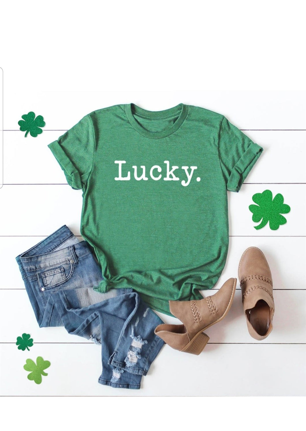 LUCKY Typewriter Tee, St. Patrick's Day Shirt, Choose Shirt Color - The Hot Polka Dot