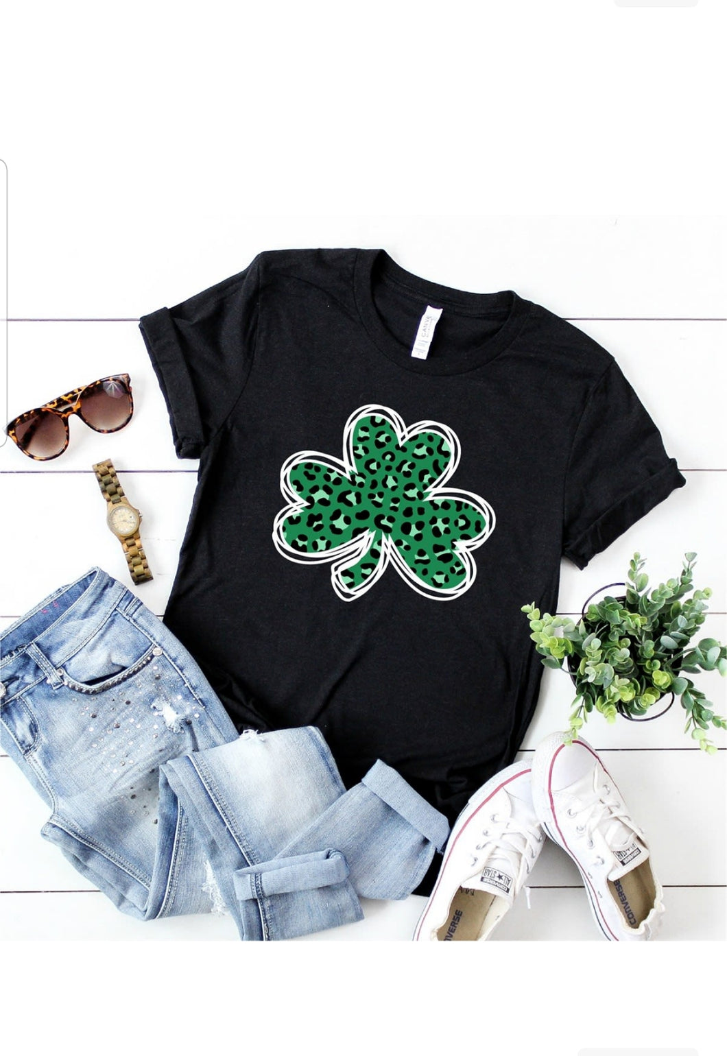Green Leopard Print Clover St. Patrick's Day Shirt, Choose Shirt Color - The Hot Polka Dot