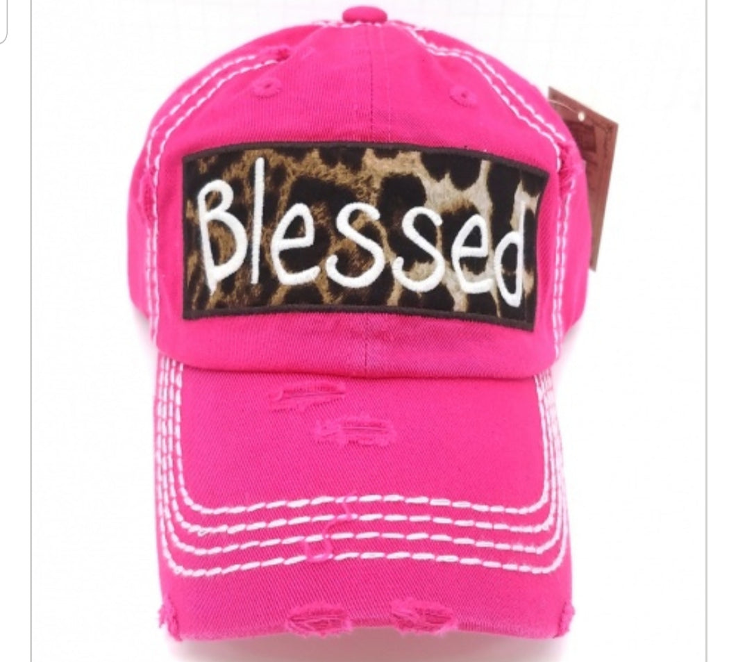 BLESSED Leopard Embroidered Patch Distressed HOT PINK Hat - The Hot Polka Dot