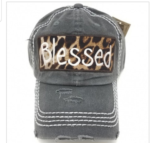 BLESSED Leopard Embroidered Patch Distressed CHARCOAL Hat - The Hot Polka Dot