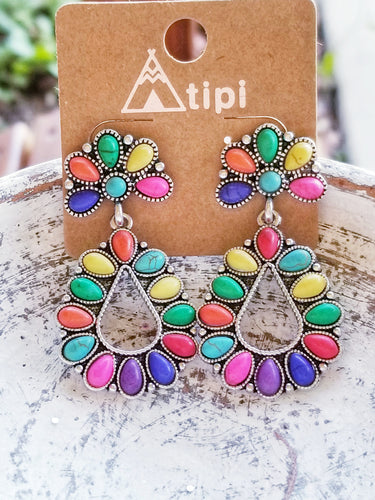 Bright Multicolor Western Style Drop Earrings - The Hot Polka Dot