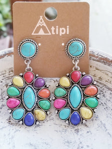 Bright Multicolor & Turquoise Stone Western Style Drop Earrings - The Hot Polka Dot