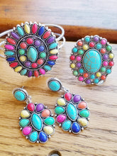 Load image into Gallery viewer, Bright Multicolor & Turquoise Stone Western Style Drop Earrings - The Hot Polka Dot