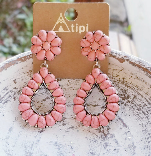 Coral Blossom Flower Western Drop Earrings - The Hot Polka Dot