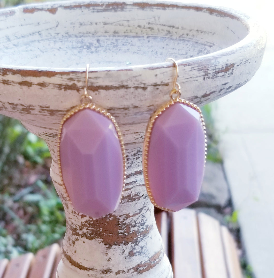LAVENDER Hexagonal Shaped Statement Earrings - The Hot Polka Dot