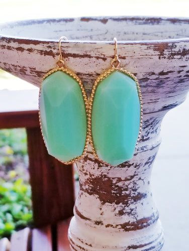 MINT Hexagonal Shaped Statement Earrings - The Hot Polka Dot