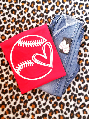 Baseball / Softball Simple Graphic Tee, Choose Shirt Color - The Hot Polka Dot