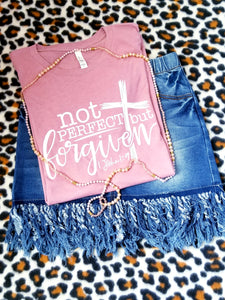 Not Perfect, but FORGIVEN, Scripture Graphic Tee, Choose Shirt Color - The Hot Polka Dot