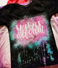 Load image into Gallery viewer, Embrace Different Reverse Tiedye Bleached out Black Tee *Custom Shirt* - The Hot Polka Dot