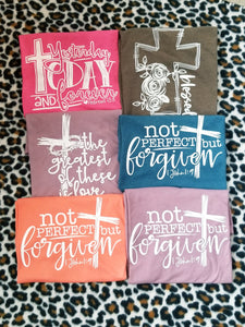 Yesterday Today FOREVER, Hebrew 13:8, Scripture Graphic Tee, Choose Shirt Color - The Hot Polka Dot