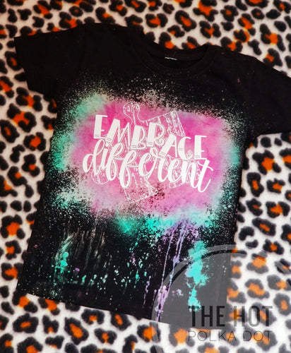 Embrace Different Reverse Tiedye Bleached out Black Tee *Custom Shirt* - The Hot Polka Dot