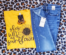 Load image into Gallery viewer, She's as wild as a Sunflower Graphic Tee - The Hot Polka Dot