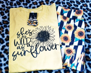She's as wild as a Sunflower Graphic Tee - The Hot Polka Dot