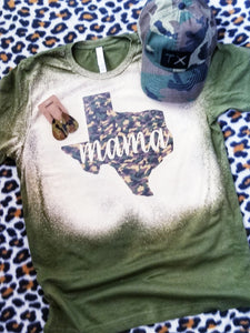 BLEACHED CAMO Texas Born & Raised, Camo Print Tee