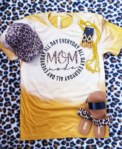 BLEACHED Mom Shirt, MOM All Day Everyday,  Leopard Print Mustard Tee
