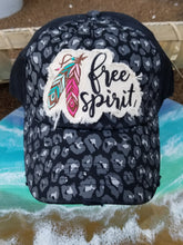 Load image into Gallery viewer, Free Spirit Feather Cheetah Distressed Baseball Hat