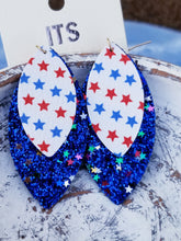Load image into Gallery viewer, Patriotic July 4th Layered Faux Leather BLUE Glitter Earrings