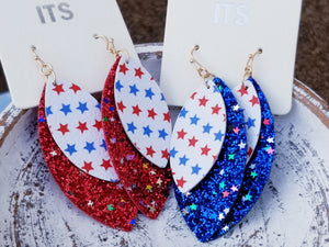 Patriotic July 4th Layered Faux Leather RED Glitter Earrings