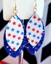 Load image into Gallery viewer, Patriotic July 4th Layered Faux Leather RED Glitter Earrings