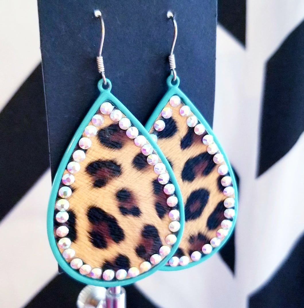 Leopard & TURQUOISE Teardrop Earrings