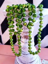 "Load image into Gallery viewer, 60"" Green Clear Beaded Necklace"