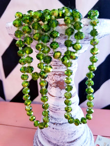 "60"" Green Clear Beaded Necklace"